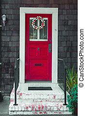 カラフルである, イースターエッグ, 花輪, 上に, a, 前部, 赤, door.