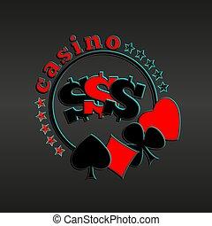 カラフルである, カジノ, 暗い背景, スーツ, ロゴ, カード