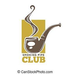 カラフルである, クラブ, logotype, 隔離された, パイプ, 喫煙, 白