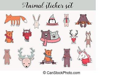 カラフルである, クリスマス, そして, 冬, 動物, ステッカー, セット