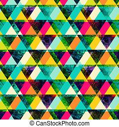 カラフルである, グランジ, 明るい, 手ざわり, style., レトロ, 三角形, 現代, seamless, ...