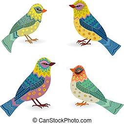 カラフルである, コレクション, あなたの, デザイン, 空想, 鳥