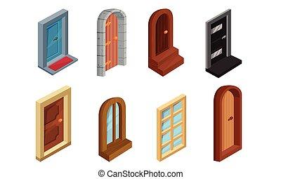カラフルである, コレクション, イラスト, 前部, ベクトル, ドア, セット, 入口