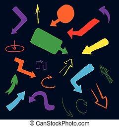 カラフルである, コレクション, 手, ベクトル, 矢, 図画