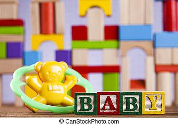 カラフルである, コレクション, 背景, おもちゃ, 赤ん坊, ブロック