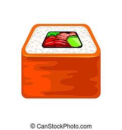 カラフルである, シーフード, 寿司, 日本語, イラスト, 回転しなさい, 伝統的である, cuisine., 鮭, ...
