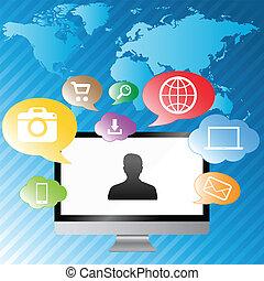 カラフルである, スクリーン, 現代, コンピュータ, 背景, デジタル