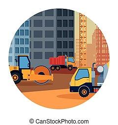 カラフルである, スチームローラー, セメント, 建設, トラック, 車