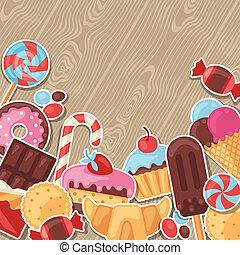 カラフルである, ステッカー, キャンデー, 甘いもの, 背景, cakes.