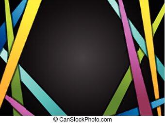 カラフルである, ストライプ, 上に, 黒, 抽象的, 背景