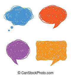 カラフルである, スピーチ, 泡, 考え, 手, 引かれる