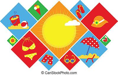カラフルである, セット, の, 夏, icons., 幸せ, ホリデー