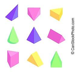 カラフルである, セット, イラスト, プリズム, ベクトル, 幾何学的