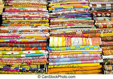 カラフルである, デリー, コレクション, 様々, 市場, 衣服