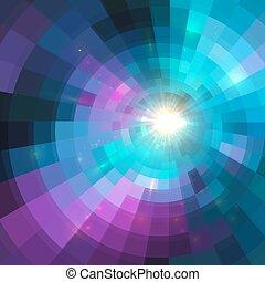 カラフルである, トンネル, 抽象的, 背景, 円, 照ること