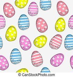 カラフルである, バックグラウンド。, 白, パターン, イースター, seamless, 卵