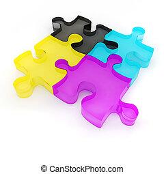 カラフルである, パズル小片, cmyk, 背景, 白, 3d