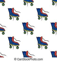カラフルである, パターン, レトロ, 背景, スケート, 白, ローラー