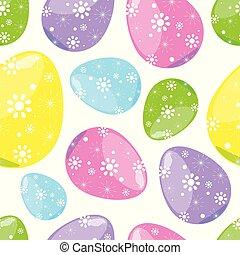 カラフルである, パターン, 卵, seamless, 背景, 白, イースター
