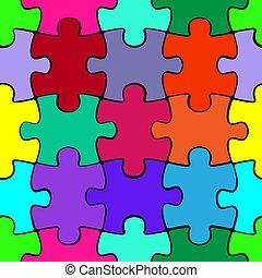 カラフルである, パターン, 困惑, ジグソーパズル, seamless, 小片, バックグラウンド。, テンプレート