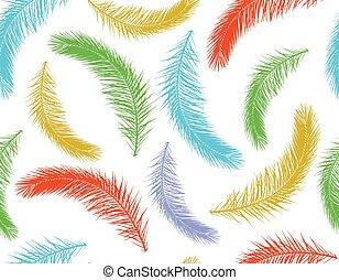 カラフルである, パターン, 葉, 木, seamless, イラスト, silhouette., ベクトル, やし