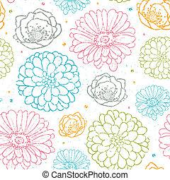 カラフルである, パターン, seamless, チョーク, 背景, 花