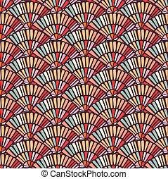 カラフルである, パターン, seamless, 手ファン, タイル, モザイク