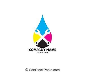 カラフルである, ビジネス, シンボル, 印刷, 印, 考え, サービス, デザイン, 解決, デジタル, 印刷, ロゴ