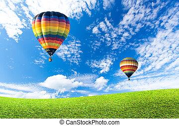 カラフルである, フィールド, 上に, 空気, 暑い, 緑の気球