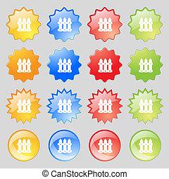 カラフルである, フェンス, ボタン, あなたの, 現代, 16, セット, アイコン, 印。, 大きい, design.