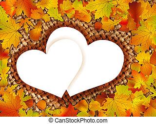 カラフルである, フレーム, の, 落ちている, 秋, leaves.