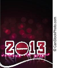 カラフルである, ベクトル, デザイン, カード, 年, 新しい, 2013, 幸せ