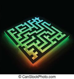 カラフルである, ベクトル, 黒い背景, (labyrinth), 迷路