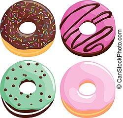 カラフルである, ベクトル, donuts., イラスト, コレクション