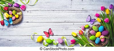 カラフルである, ペイントされた, チューリップ, 卵, バックグラウンド。, 蝶, 春, イースター