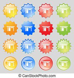 カラフルである, ボタン, あなたの, 現代, 16, セット, アイコン, テーブル, 印。, 大きい, design.
