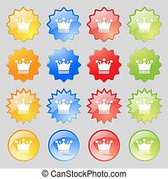 カラフルである, ボタン, あなたの, 現代, 16, セット, アイコン, 印。, 大きい, design., 王冠
