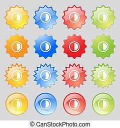 カラフルである, ボタン, あなたの, 現代, 16, セット, アイコン, 印。, 対照, 大きい, design.