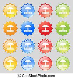 カラフルである, ボタン, あなたの, 現代, 16, セット, アイコン, 砂場, 印。, 大きい, design.