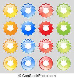 カラフルである, ボタン, あなたの, 現代, 16, 保護, アイコン, セット, 印。, 大きい, design.