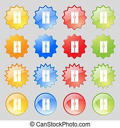 カラフルである, ボタン, あなたの, 食器棚, 現代, 16, セット, アイコン, 印。, 大きい, design.