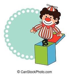カラフルである, ボーダー, ウィット, ピエロ, 中に, 立方体, おもちゃ