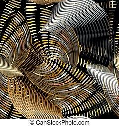 カラフルである, ライン, デザイン, 流れること, らせん状に動く, 装飾用, 芸術, 未来派, 繰り返し, textured, しまのある, 表面, 形, seamless, ベクトル, pattern., 線, tracery, ornament., 抽象的, 背景。, 3d, 幾何学的, バックグラウンド。