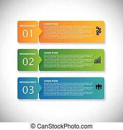 カラフルである, ラベル, ∥で∥, 連続, の, ステップ, -, ベクトル, infographic,...