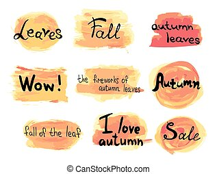カラフルである, ラベル, コレクション, 手, 秋, ベクトル, 背景, 引かれる