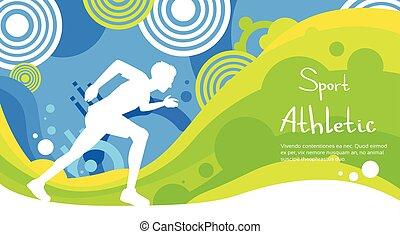カラフルである, ランナー, 運動選手, 競争, スプリント, スポーツ, 旗