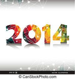 カラフルである, 三角, 年, 新しい, 2014., 幸せ