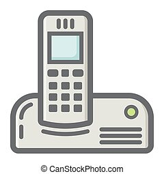 カラフルである, 世帯, 電話, 無線, アイコン, 線