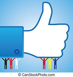 カラフルである, 人々, シンボル, の上, 親指, のように, 手