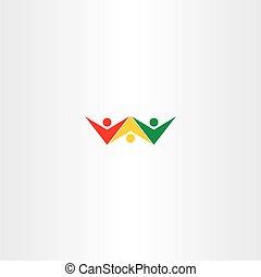 カラフルである, 人々, ベクトル, デザイン, ロゴ, 友人